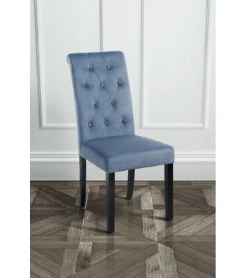 Genoa Wedgewood Upholstered Scroll Back Dining Chair with Dark Legs