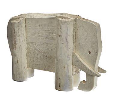 ARNE LINDAAS  Figur Elefant.1980/90-tallet. Hvitmalt, ustkåren tre. Usignert.