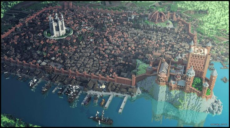 Kings Landing in Minecraft.  http://www.reddit.com/r/gaming/comments/17iw9q/so_we_built_kings_landing_in_minecraft_heres_a/