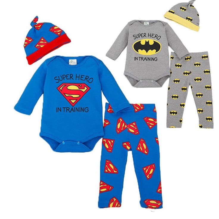 Brand Romper Set Fashion Cartoon Roupa De Bebe Bodysuit+Hat+Pant 3pcs Baby Boy Clothing Set Superman Batman Newborn Baby Clothes