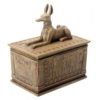Anubis Sandstone Color Resin 5 Inch Box -  Price: $25.00  This stunning finely detailed cold cast resin box is 4 x 2.5 x 5 inches with a lift off lid and felt-lined interior. It has a sandstone finish.  | #egyptianart #ancientegypt #egyptiangods
