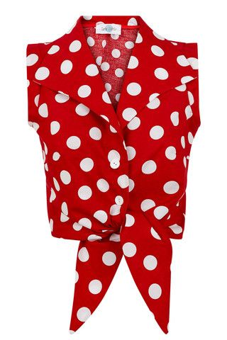 The Tie-front Shirt - Red with White Spots | Tara Starlet Pinup Retro Vintage style polkadot top