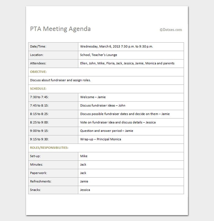 meeting outlines templates