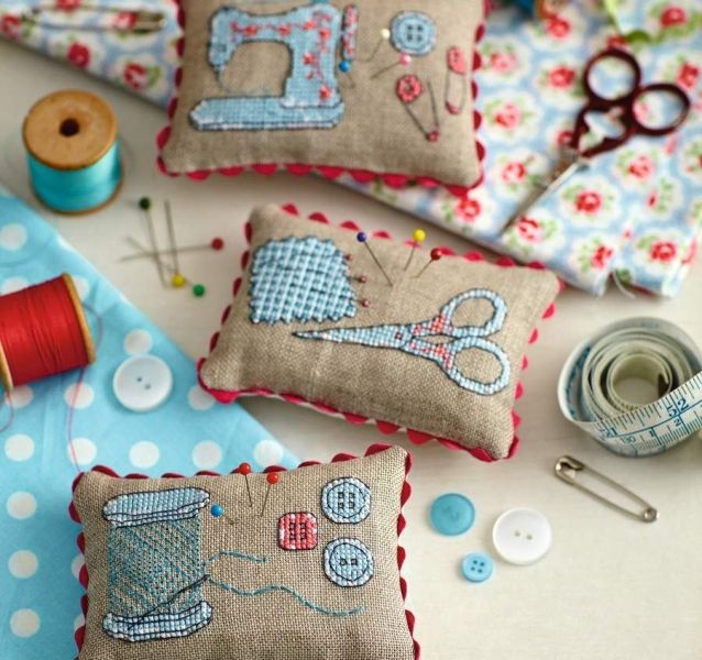 What's the ideal pincushion for a stitcher? One featuring sewing motifs, of course! Which will you stitch first?