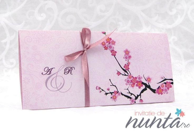 Invitatie roz cu flori de cires Cherry Blossom. O invitatie in culori placute, potrivita pentru o nunta cu tematica Flori de cires sau o nunta cu tematica japoneza.
