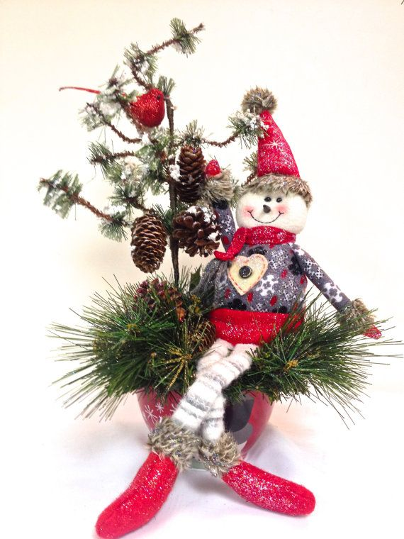 NEW Snowman Holiday Christmas Table Arrangement by SandyNewhartDesigns on Etsy, $59.00