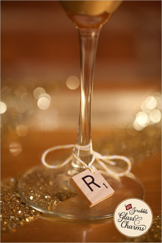 DIY Scrabble Glass Charms:  great for game night parties.  (Tie on mini-ornaments for Christmas parties!)