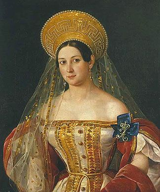 Russian Court dress in painting. Peter Orlov. Portrait of Lady-in-Waiting Sofia V. Orlova - Denisova. 1835.