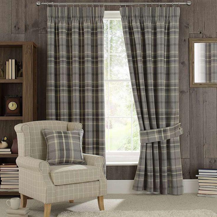 Highland Check Dove Grey Pencil Pleat Curtains | Dunelm
