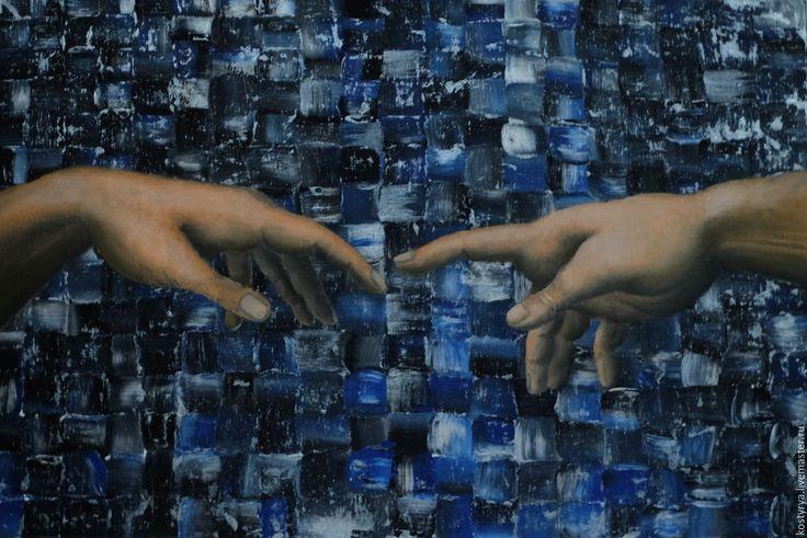 """Купить Картина """"Вот ТУТ шов кривой"""" - тёмно-синий, картина в подарок, картина"""