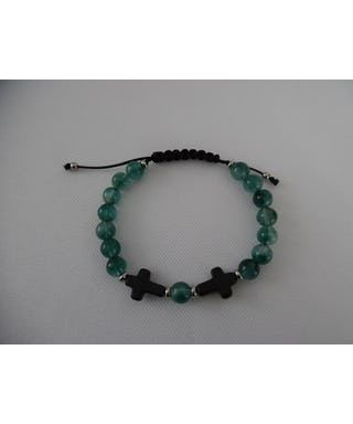 Bracelet homme, en  jade vert translucide, croix noir en howlite, ajustable.