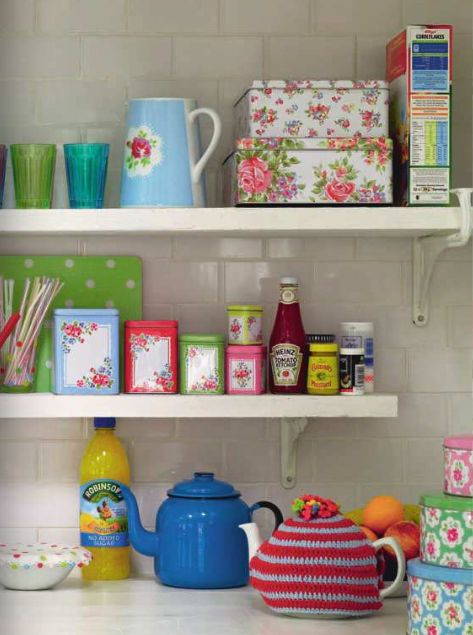 how to add colour and brighten up a plain white kitchen space