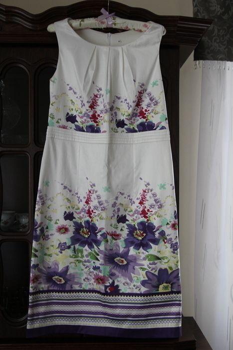 Letnia biała sukienka z motywami kwiatowymi - vinted.pl