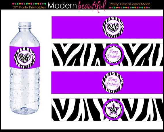 Party Water Bottle Labels Black and Purple Zebra