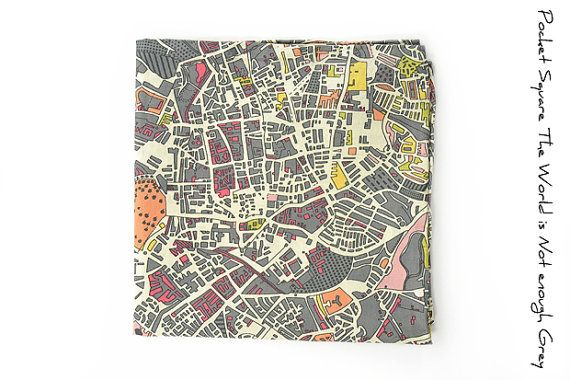 Mens Pocket Square The World Is Not Enough Grey by speaklouder, #maps