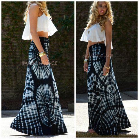 Just Beachin' Black & White Tie Dye Maxi Skirt | Amazing ...