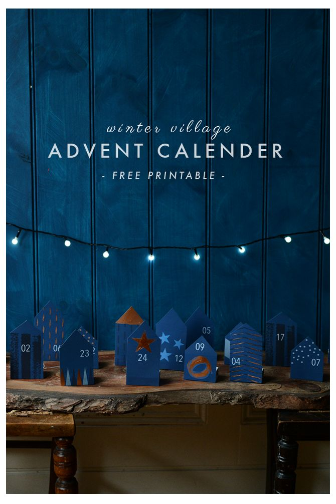 Free Printable DIY Advent Calendar- Winter Village | Rosehip