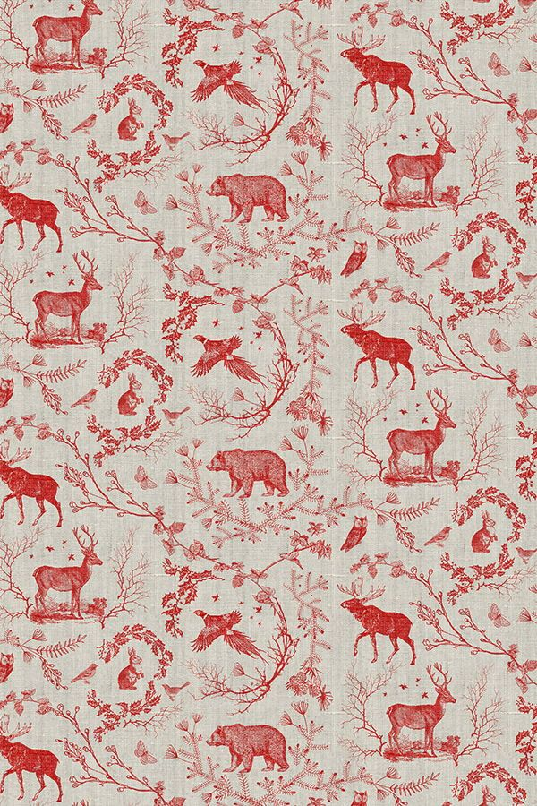 Woodland Winter Toile In Cranberry By Nouveau Bohemian Hand