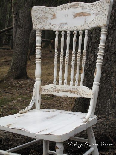 Antique Pressback chair painted in Pure White Annie Sloan Chalk Paint.  Clear and dark wax highlighted.