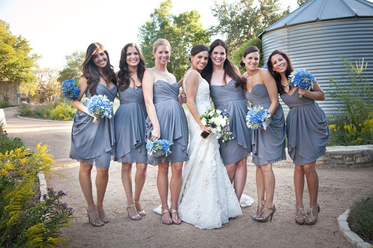 Bridesmaid Dresses Light Grey and Yellow Flowers