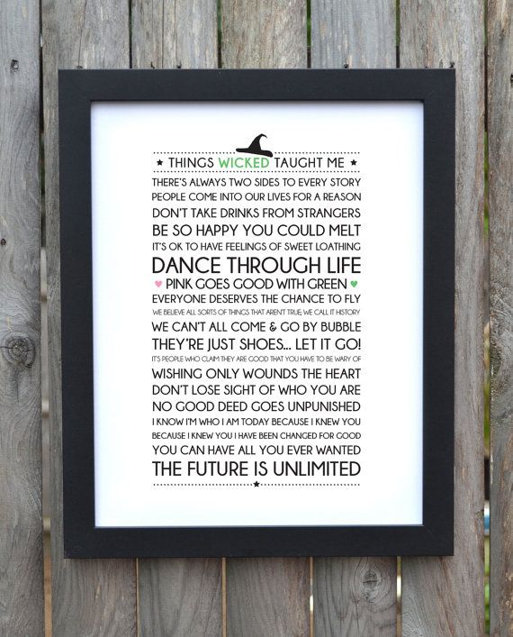 Typography print on words and lyrics from hit Broadway show, Wicked. Wicked: The Untold Story of the Witches of Oz is a musical with music