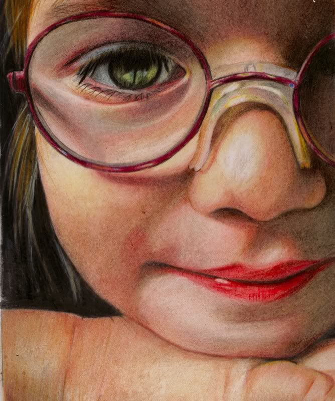 Colored pencil little girl portrait by Brian Scott