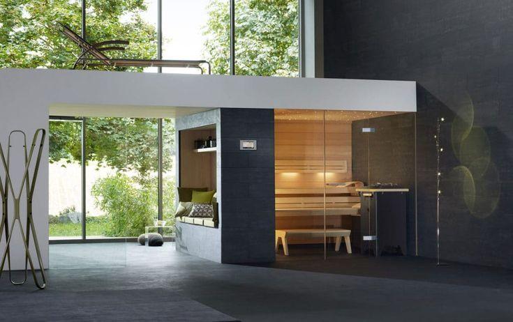 Exclusieve merken wellness, dit is een klafs sauna trouwens. Mooie combinatie met zitje aan zijkant en bovenop ligstoel (maar dat halen we niet)