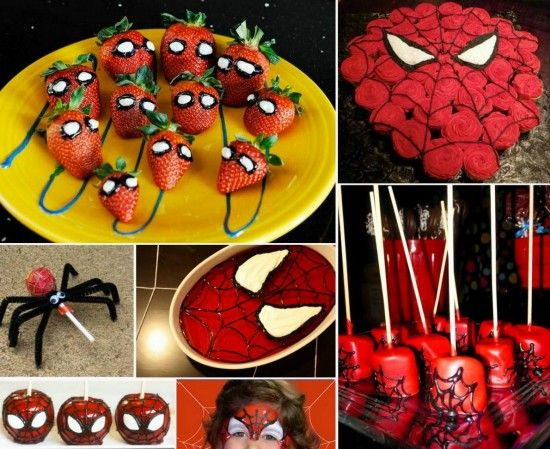 Spiderman Fruit Kabobs Cost effective party themed food Party