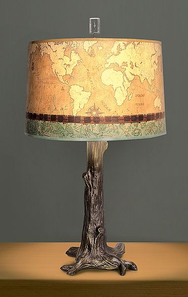 Bronze Tree Table Lamp with Large Drum Shade in Sand Map by Janna Ugone and Justin Thomas: Mixed-Media Table Lamp available at www.artfulhome.com