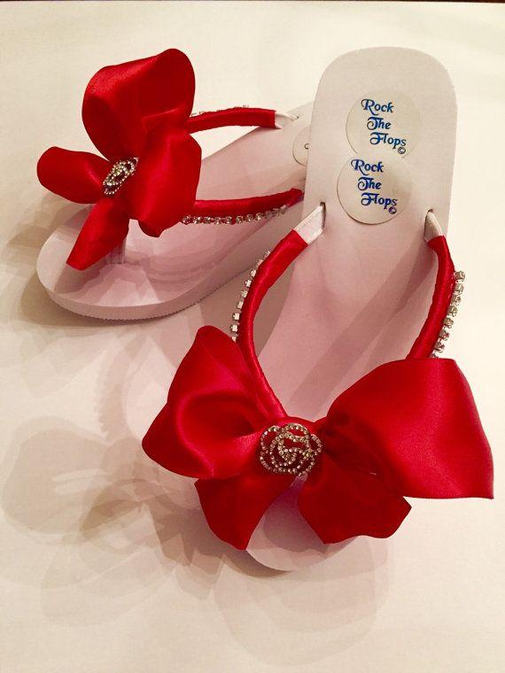 Valentines Day Bridal Flip Flops.Wedding Flip Flops.Red Flip Flops. Wedding Shoes. Bridal Shoes.Bride wedding Shoes.