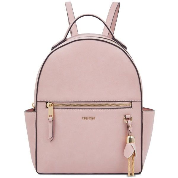 Nine West Briar Small Backpack ($67) ❤ liked on Polyvore featuring bags, backpacks, light pastel pink, leather bags, real leather backpack, tassel backpack, nine west and faux-leather backpacks