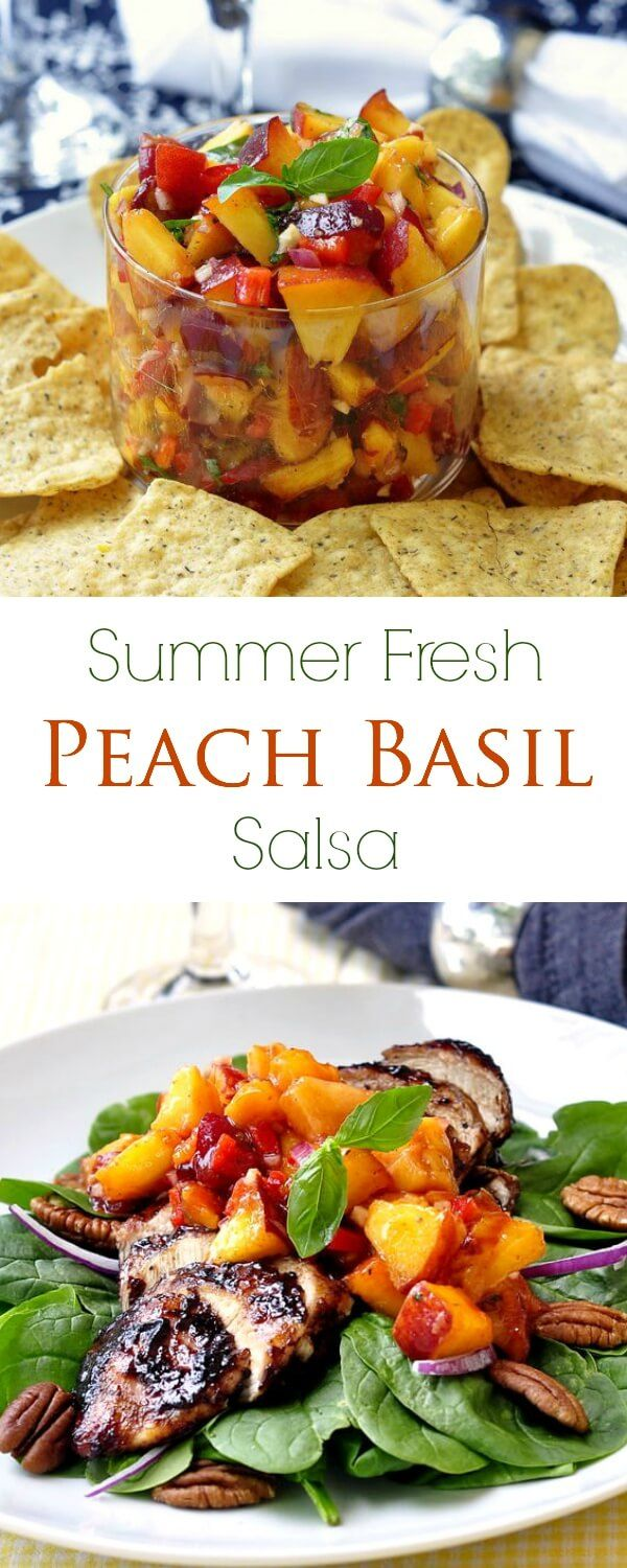 Peach and Basil Salsa - at its summer fresh best! This salsa is so easy to make and is terrific on grilled chicken or pork as well as summer salads, as a wonderfully flavorful alternative to oily salad dressing.