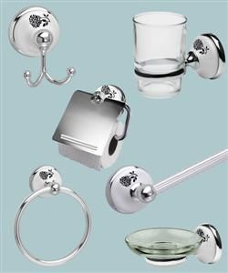 oceana bathroom accessories set dahlia porcelain polished chrome 6 piece set