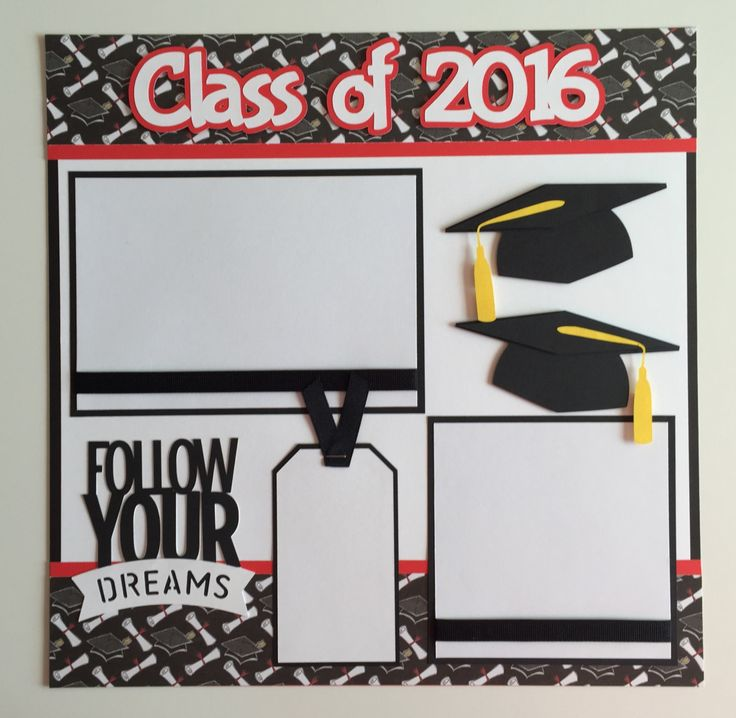 Premade 12x12 Class of 2016 Graduation scrapbook page 1 - 4 1/4 x 6 1/4 photo mat 1 - 4 1/4 x 4 1/4 photo mat Your 4 x 6 and 4 x 4 photos slide under the ribbon. Special Features: Ribbon, Layered, & 3D All items come from a smoke - free home! Thanks for looking! :)