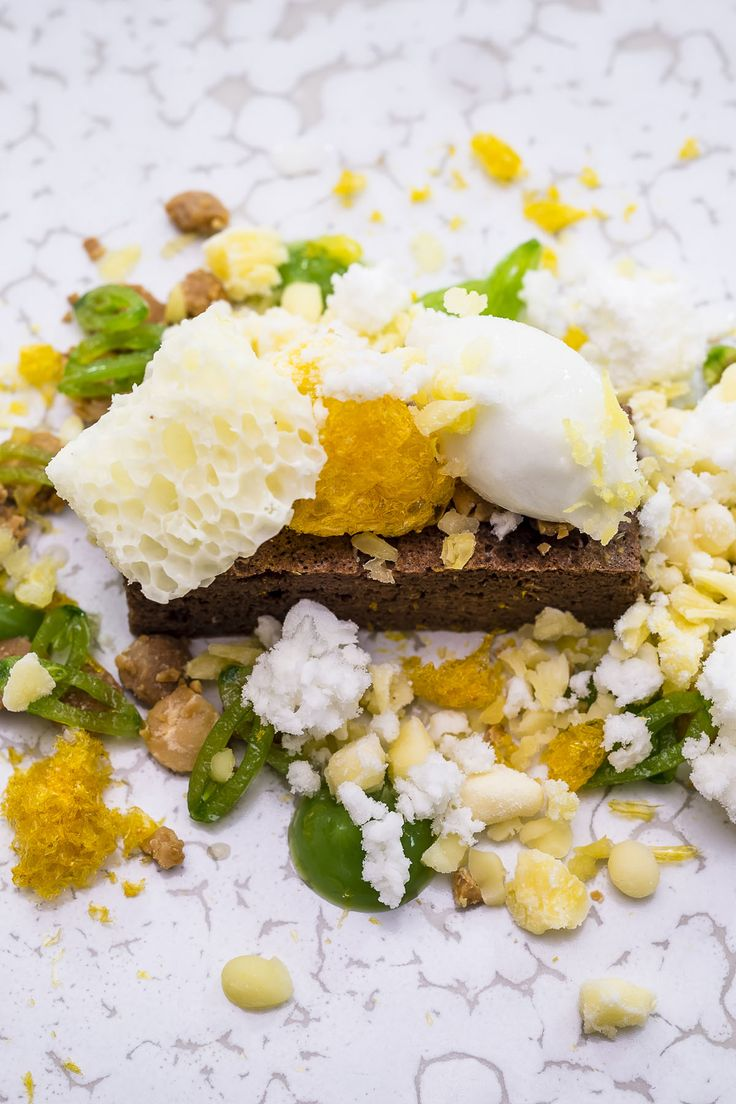 Michael Wignall's stunning dessert is a flurry of complex elements, making use of liquid nitrogen, espuma guns and a vacuum container to delicately balance flavours of chocolate, olive oil, sugar snap peas and orange. Truly a dish for the molecular mastermind.