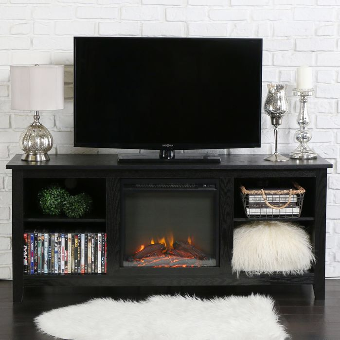 "Features:  -Rich, textured finish.  -Includes electric fireplace insert.  -No electrician required, simple plug-in unit.  -Accommodates most TVs up to 60"".  -Adjustable shelving.  -Ample storage space"