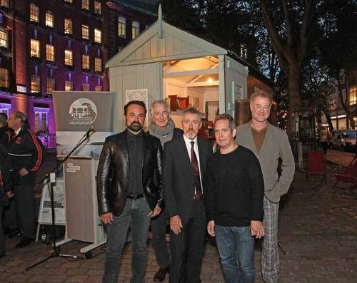 Alan Rickman, Griff Rhys Jones, Owen Teale, Evgeny Lebedev and Tom Hollander in the replica of Thomas's writing shed in London - October 21, 2014 To mark the beginning of the Dylan Thomas Festival in Fitzrovia - the festival runs from October 27 - November 9.