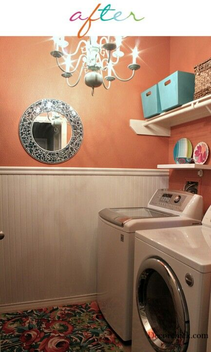 Laundry room colors!! Chrysanthemum by Sherwin Williams http://decorchick.com/laundry-room-makeover/