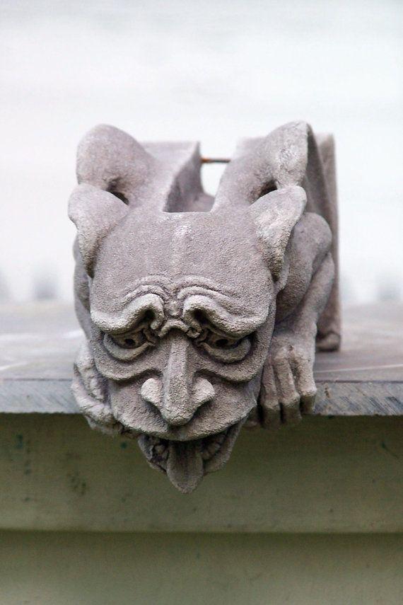 Worrywart Gargoyle, gothic waterspout, medieval sculpture,cast stone art, garden…