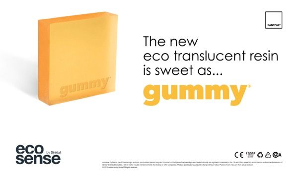NEW eco translucent resin : gummy® by Sinktal Standard pannel sizes 3000x1000mm / 2000x1000mm in 6mm / 12mm / 16mm Pantone Color Matching