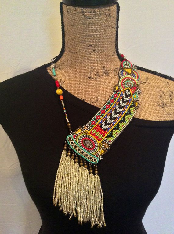 Asymmetrical Beadwork Necklace with Tassels Tribal by perlinibella