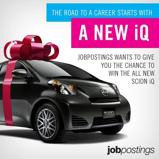 We're giving away a new Scion iQ. Register for your chance to win at: http://canadasluckieststudent.com/prize/6/show?utm_source=pinterest_medium=pin_campaign=scionlaunchpin    This prize is brought to you by the amazing people at jobpostings.ca, who understand that having a car can make finding and having a job infinitely easier. You know what else makes finding a job infinitely easier? Jobpostings.ca. Check them out, you won't regret it.    Opt in now!
