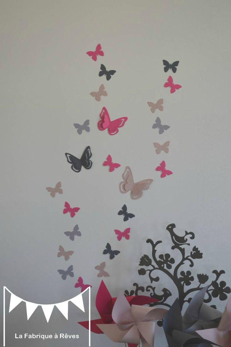 stickers décoration chambre enfant fille bébé papillons rose fuchsia rose poudré gris
