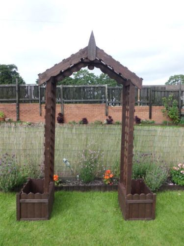 Details About Wood Wooden Garden Trellis Arch With Box