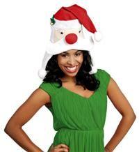 Noel Baba Kafası Şapka Kostüm Aksesuarları - Parti Şapkaları Elyaf malzemeden, gözleri oynar, çan dekorlu, ponponlu şapka