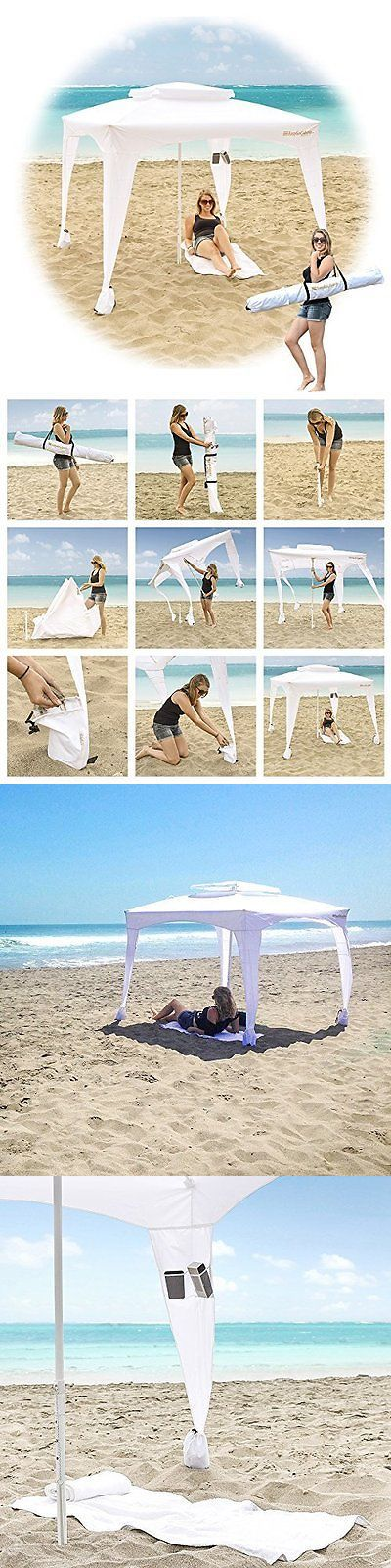 Canopies and Shelters 179011: White Large Cabana Beach Tent Canopy Umbrella Outdoor Sun Uv Shelter Camping New -> BUY IT NOW ONLY: $109.61 on eBay!