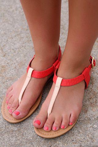 Coral & Beige T-Strap Sandal   UOIOnline.com: Women's Clothing Boutique
