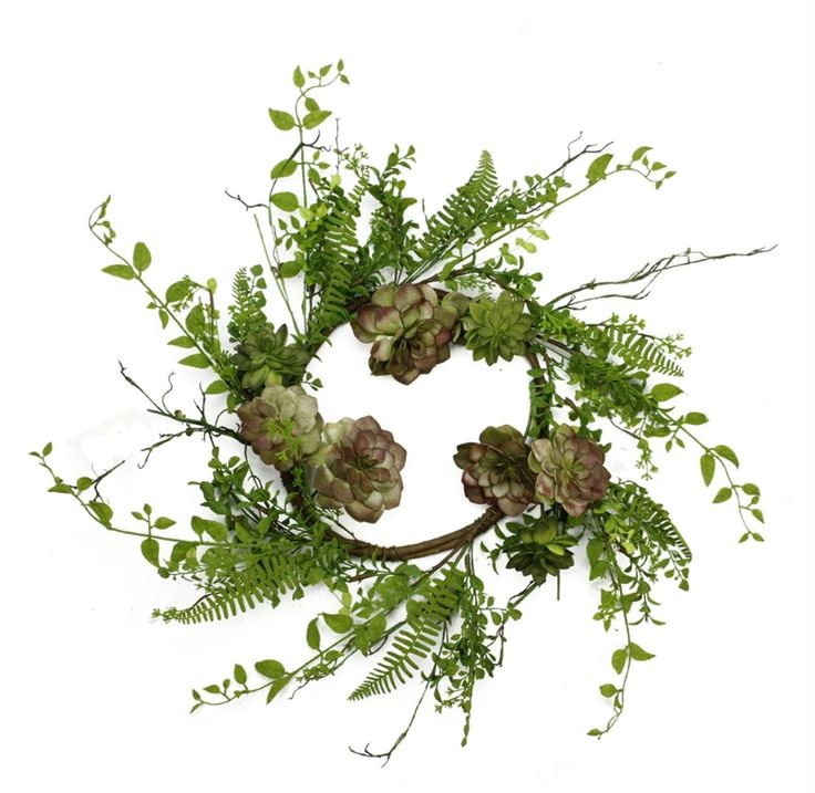 """24"""" Green and Burgundy Red Artificial Succulent Plant and Mixed Fern Wreath - Unlit"""