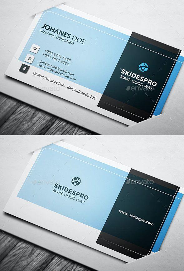 Corporate Blue Business Card Blue Business Card Business Card Template Psd Business Card Template