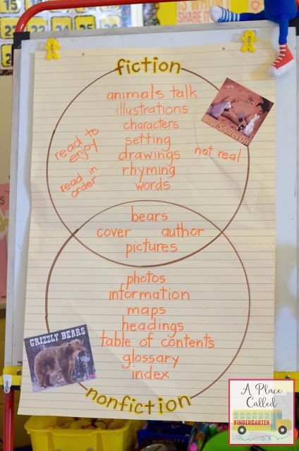 Comparing fiction and nonfiction at the Kindergarten level. This fiction and nonfiction activitity includes an anchor chart and a FREEBIE. Check out this blog post for a fiction/ nonfiction Bear Snores On freebie and lots of other mentor texts freebies.